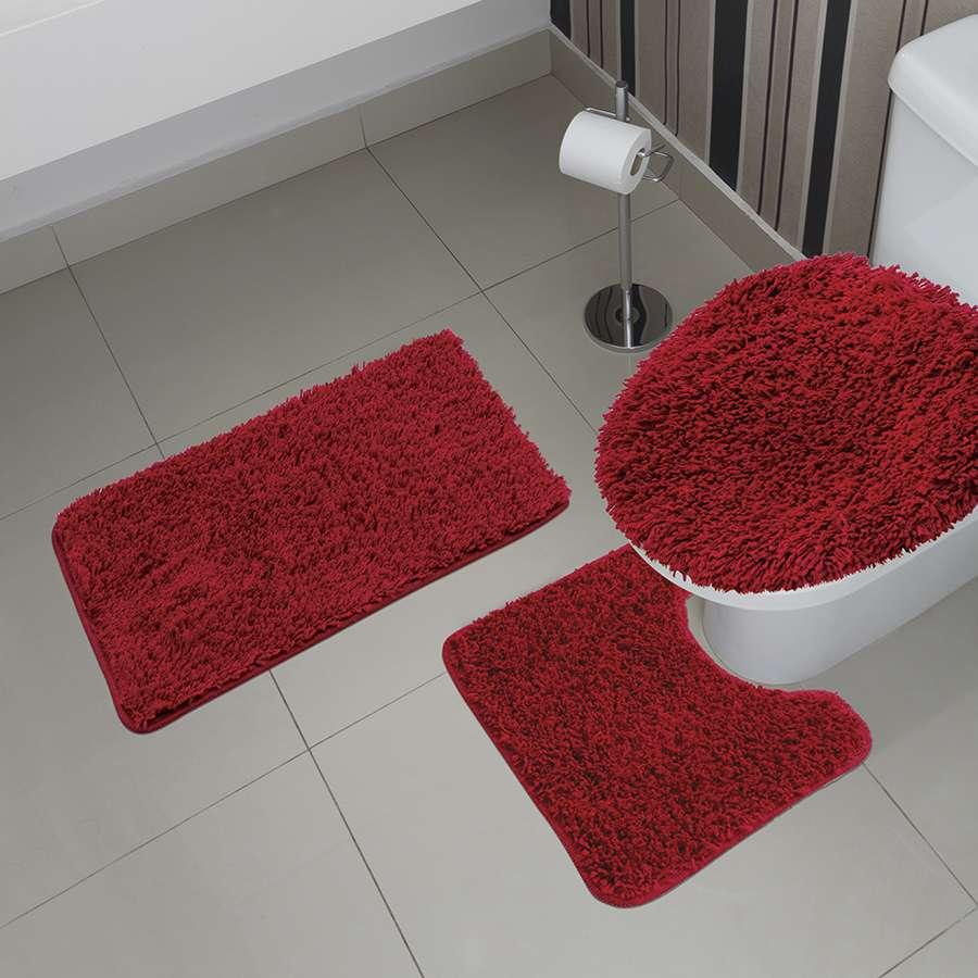 Jogo de Banheiro Prime 3 Peças Vermelho