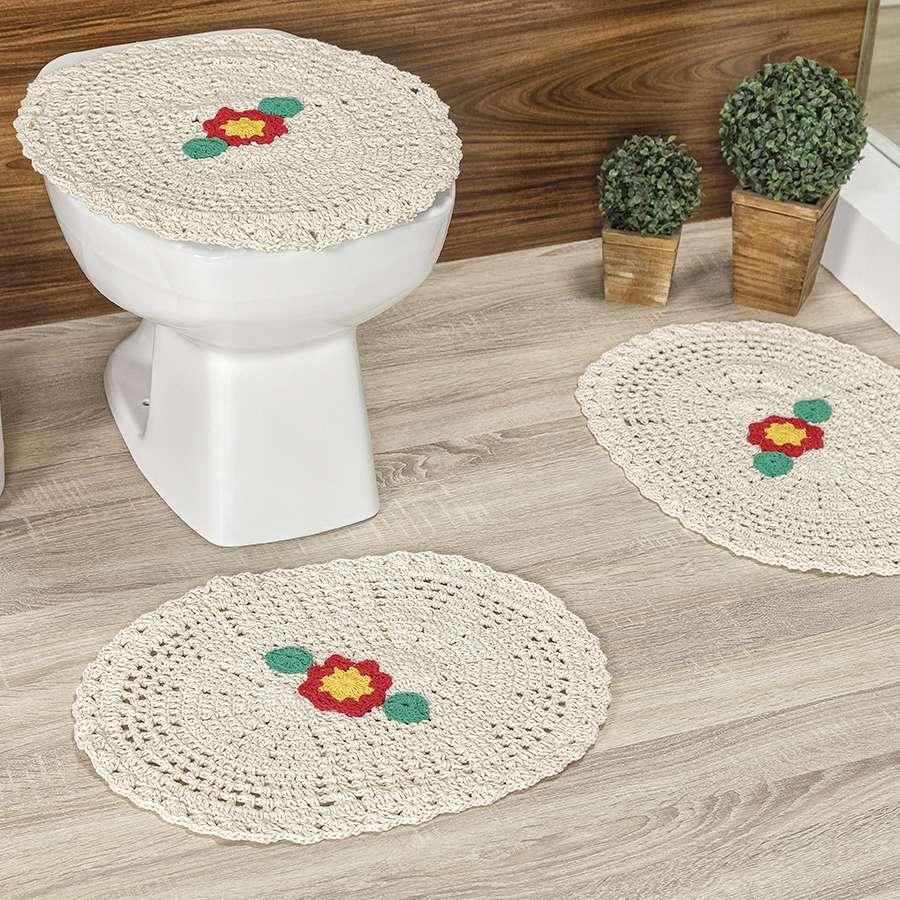 Jogo de Banheiro de Crochê Flora Detalhe de Flor Delicada 3 Peças