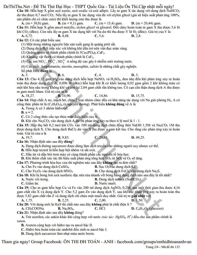 Đề và đáp án môn Hóa thi thử chuyên ĐH Vinh lần 3 năm 2015