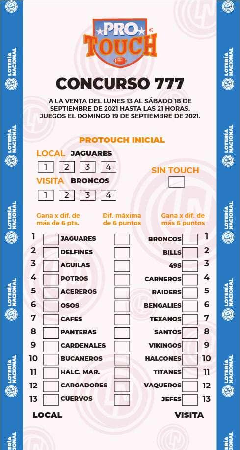 Quiniela ProTouch del concurso 777 – Partidos del Domingo 19 de Septiembre del 2021