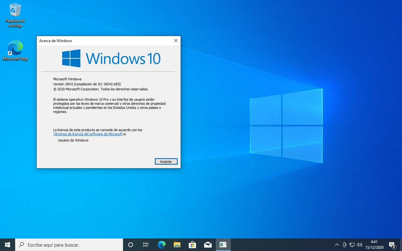 Windows 10 Pro 20H2 Mayo 2021
