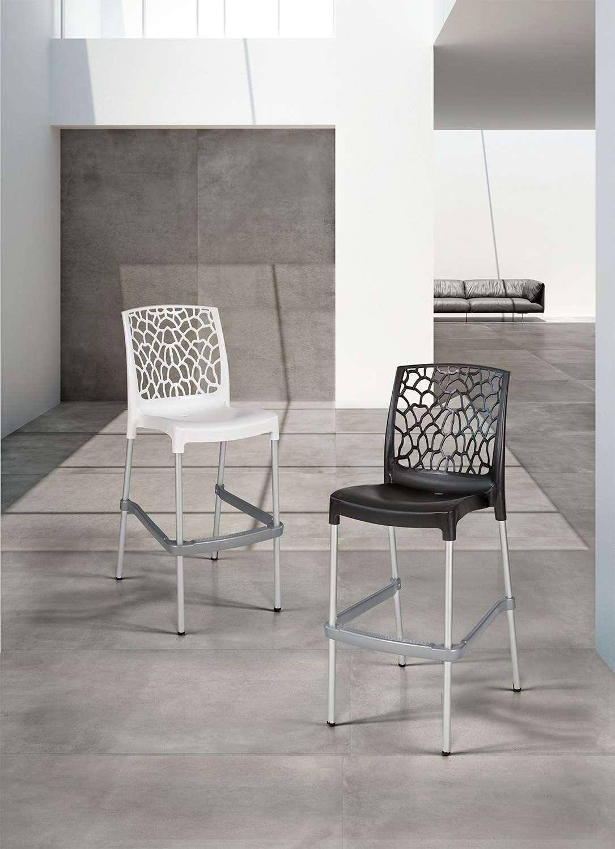 Sedie Alte Da Bar Design set 4 sedie alte sgabello sydney con gambe in alluminio da