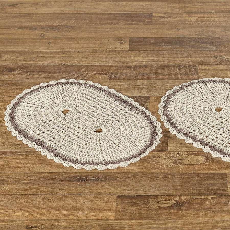 Tapete de Crochê Jade Feito a Mão Delicada 2 Peças Clássico
