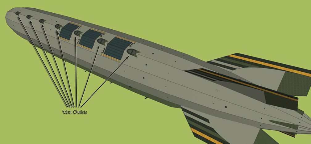 My Adventures In SketchUp - Intrepid: A Revolution In Design - A Zoomed Out SketchUp Screenshot Displaying Intrepid In Its Entirety Far Below, Identifying All Seven Of Intrepid's Vent Outlets. The Viewer Is High Above Port Side Aft Looking Diagonally Towards Starboard.