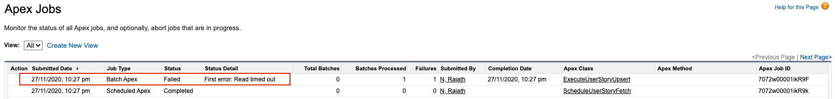 Read Timed out error displayed in Apex Jobs