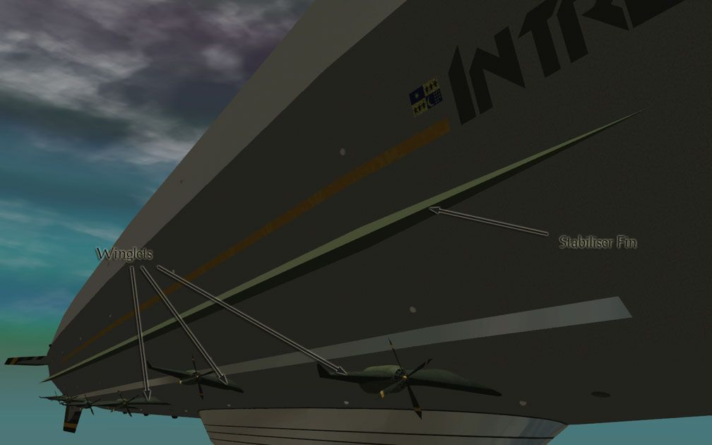 My Adventures In SketchUp - Intrepid: A Revolution In Design - A Close-Up RCT3 Screenshot Identifying Intrepid's Starboard Side Stabiliser Fin And Three Of The Starboard Side Winglets. The Viewer Is Alongside Starboard Looking Diagonally Aft.
