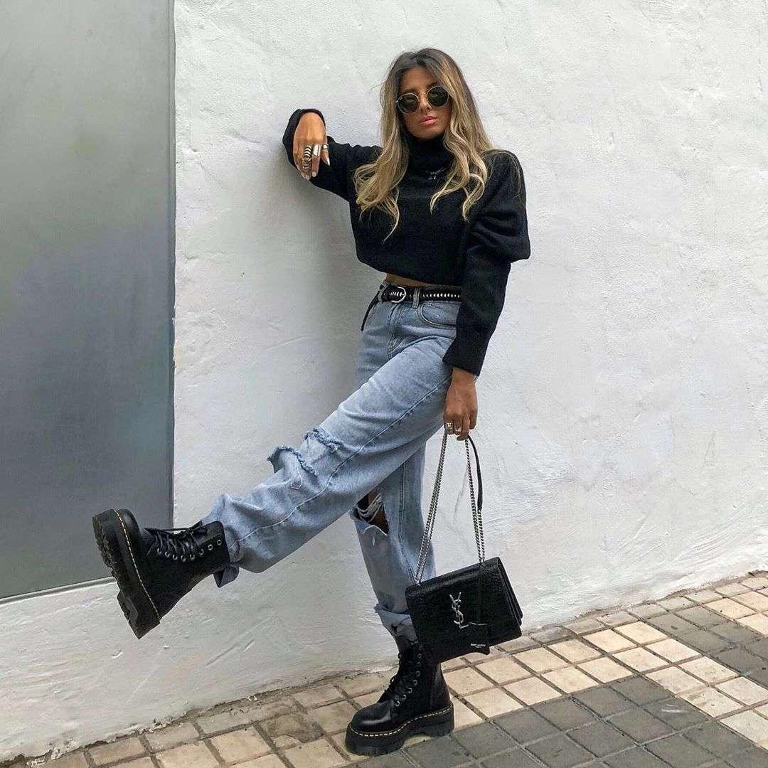 """Glany damskie stylizacja z """"mom"""" jeans"""