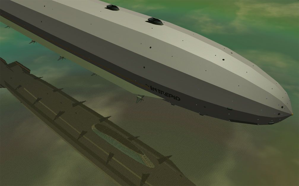 My Adventures In SketchUp - Intrepid: A Revolution In Design - A Distant RCT3 Screenshot Showing Half Of Intrepid. The Image Displays The Gradations In Shading And Specular Texture Style Along The Outer Skin's Longitudinal Planes. The Viewer Is High Above Starboard Fore Looking Diagonally Port Aft.