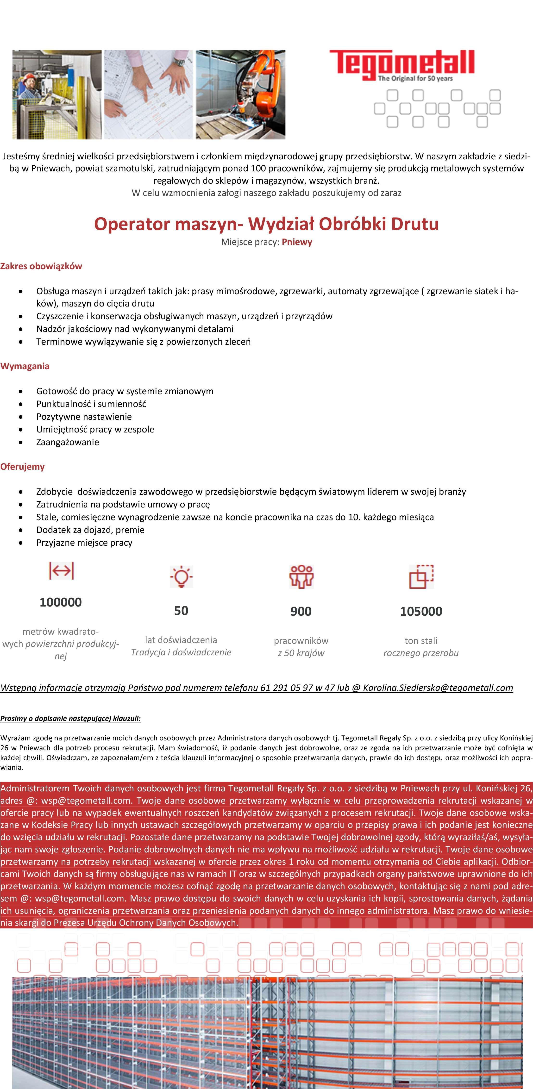 Praca dla Operatora Maszyn – Wydział Obróbki Drutu