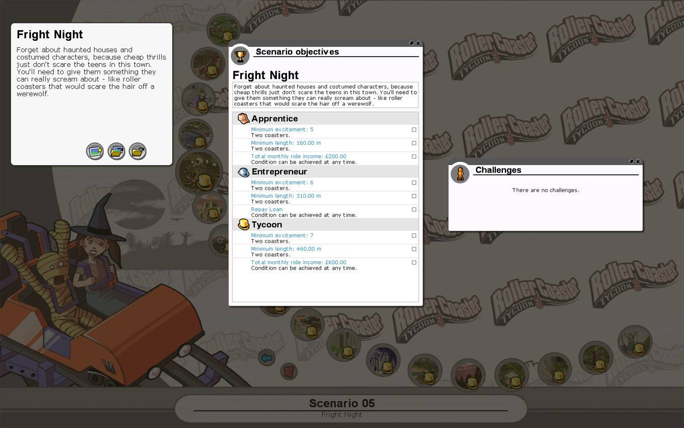 Scenario Information Image for FlightToAtlantis.net: RCT3 FAQ: Campaign Scenario Directory Specifics: Fright Night