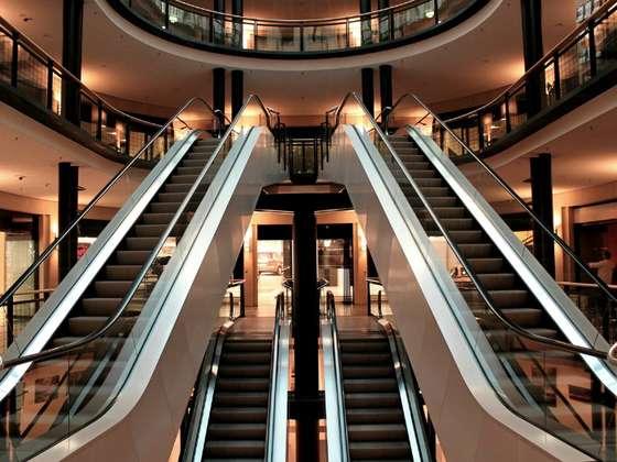 Escalators in mall