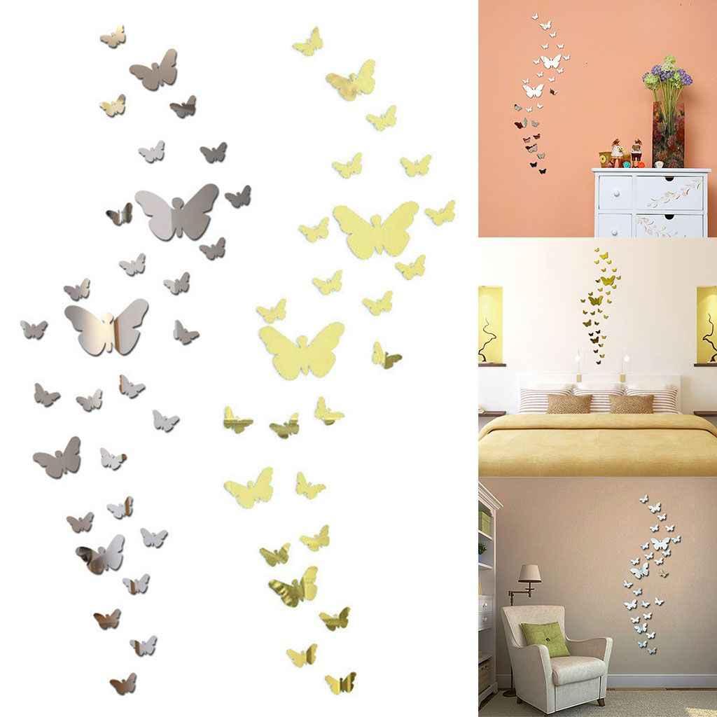 3D Mirror Butterfly Removable Art Wall Sticker Acrylic Mural Decal Home Decor