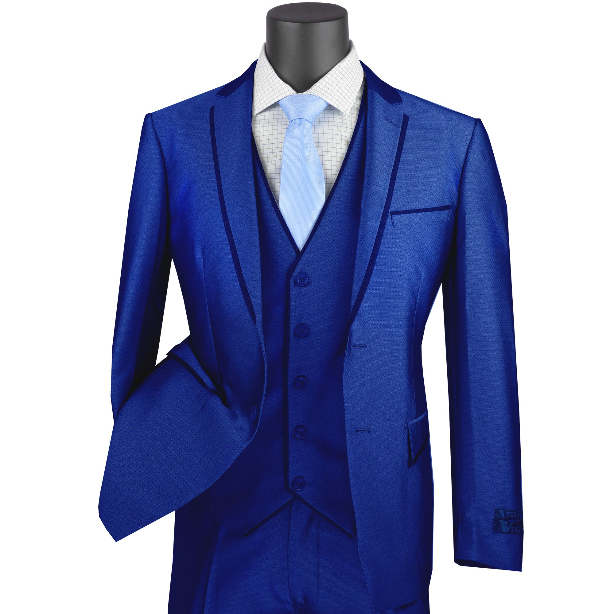 VINCI Men/'s Silver Polka Dot 2 Button Slim Fit Tuxedo w// Shawl Collar Suit NEW