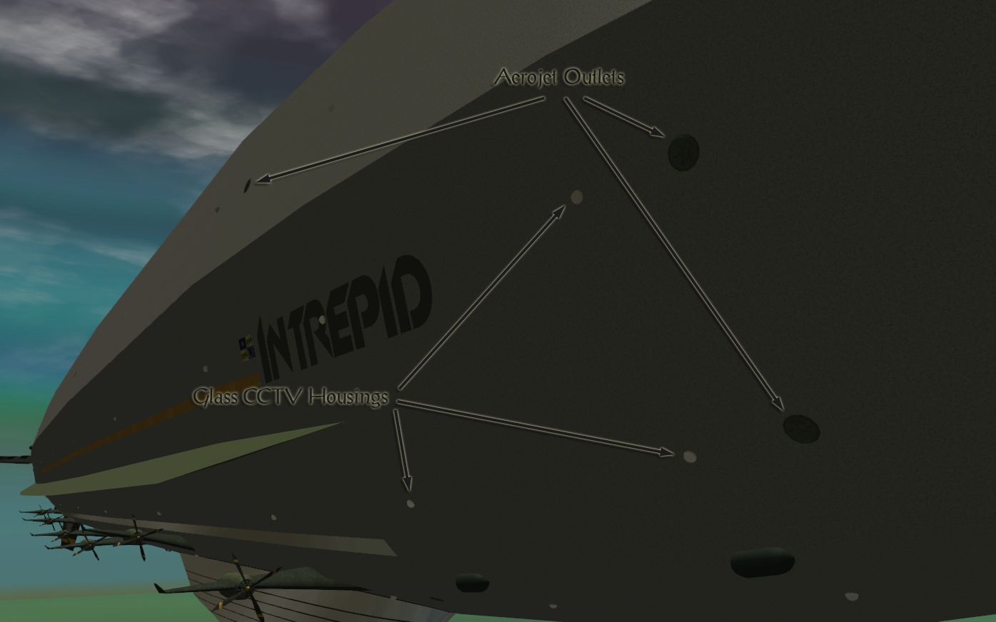 My Adventures In SketchUp - Intrepid: A Revolution In Design - A Close-Up RCT3 Screenshot Identifying Three Of Intrepid's Aerojet Outlets and Three Of The Glass CCTV Housings. The Viewer Is Alongside Starboard Looking Aft.