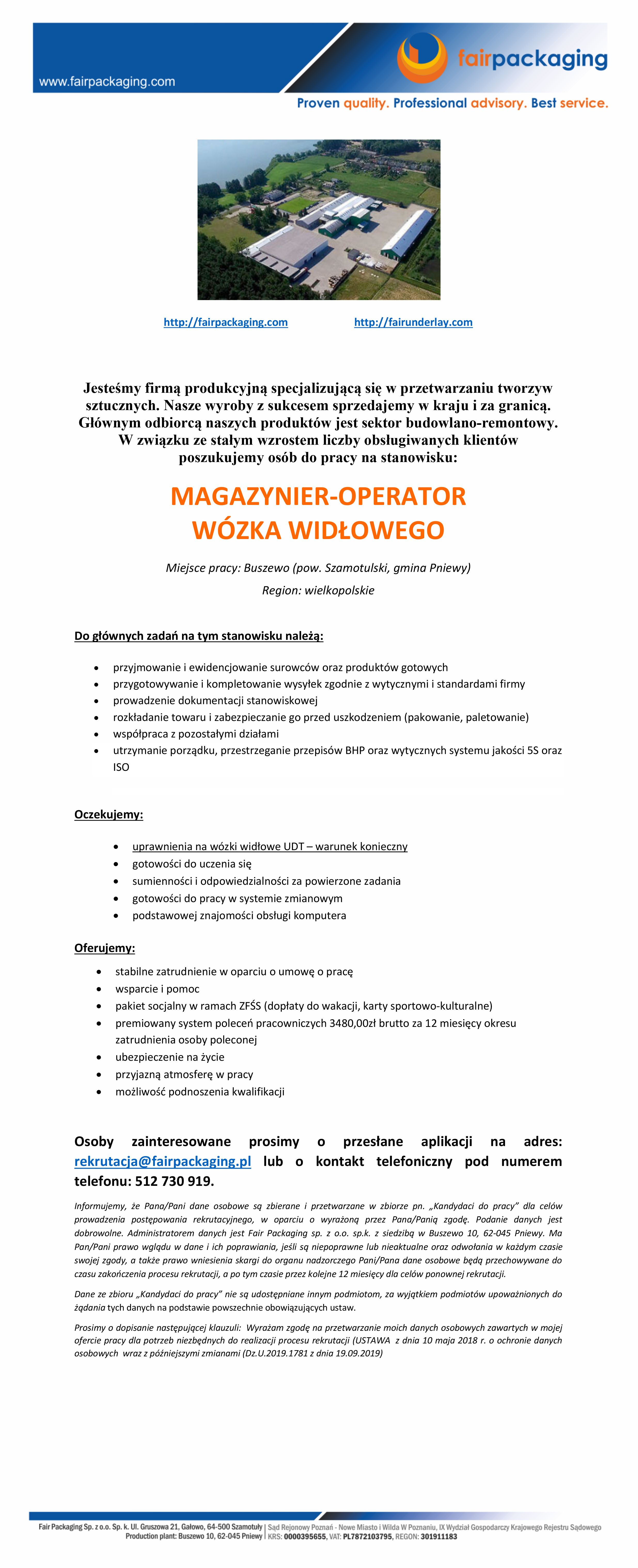 Praca dla magazyniera / operatora wózka widłowego
