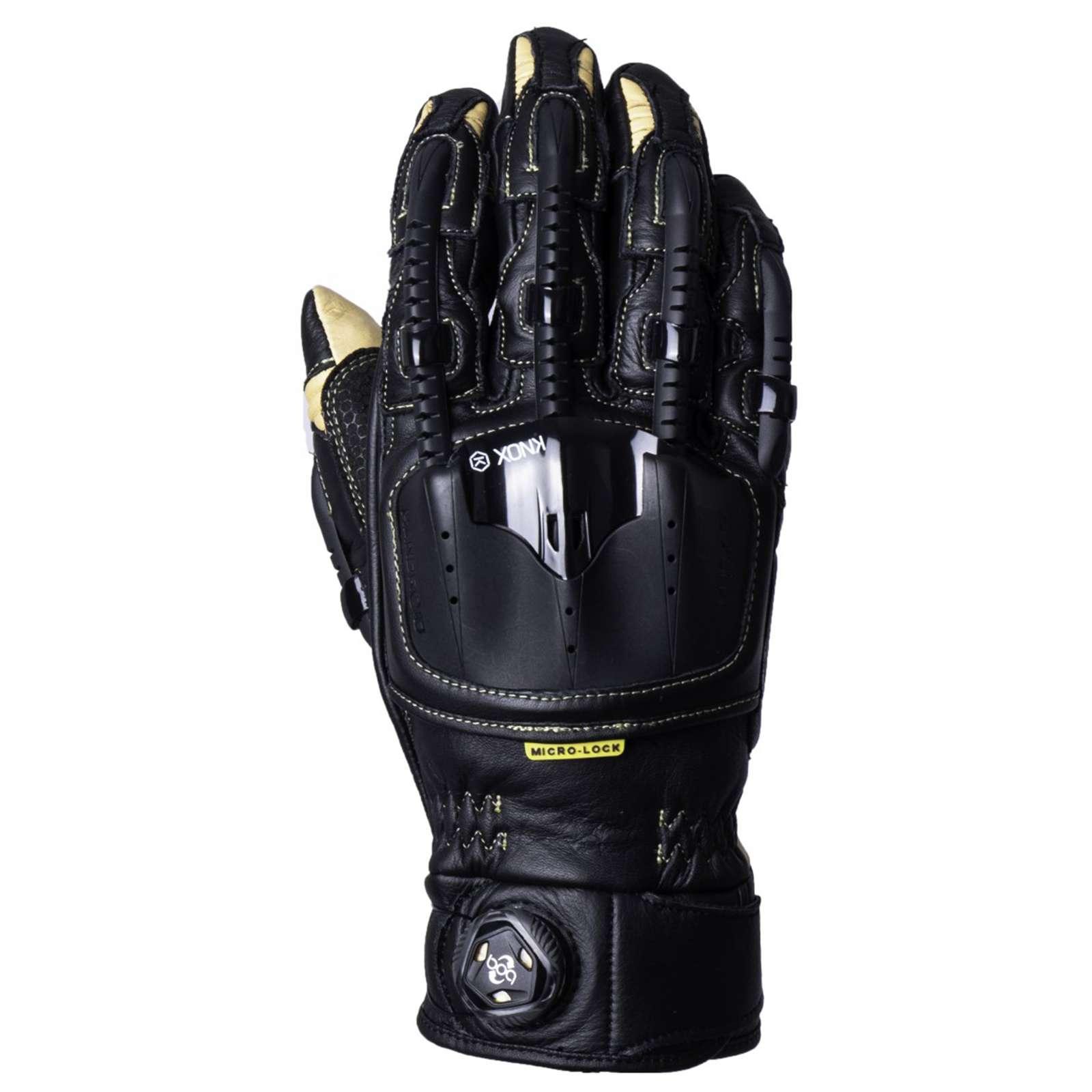 Details zu Knox Handroid Gehäuse Mk IV 2019 Leder Motorrad Handschuhe SchwarzSand