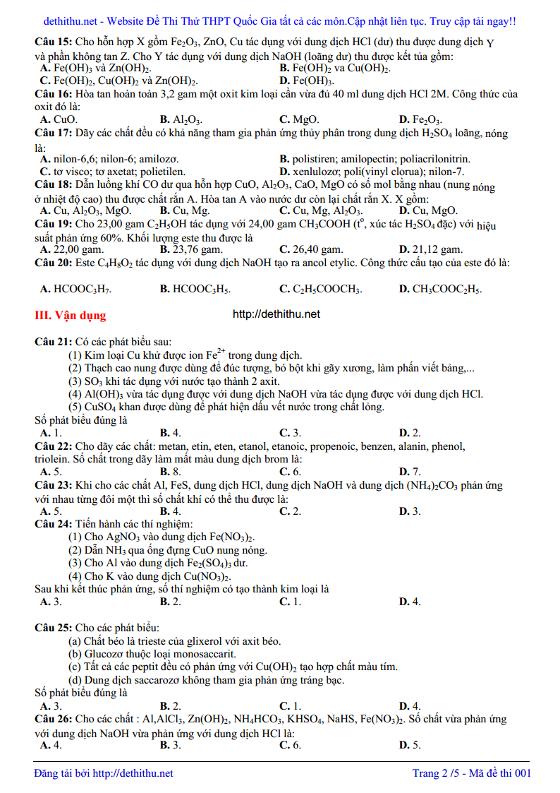 De thi thu THPT QG mon Hoa 2018 chuyen Quoc Hoc Hue trang 7