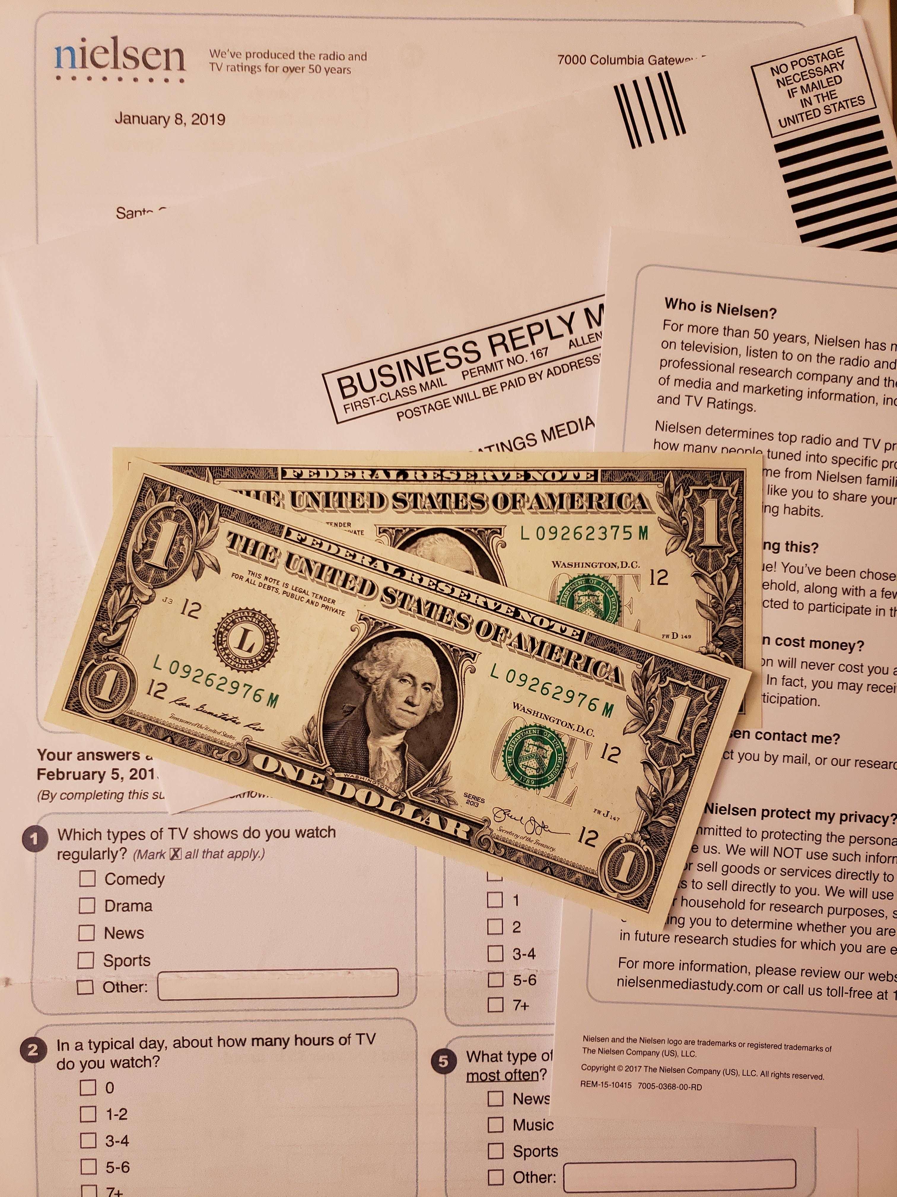Mektupla anket 2 dolar