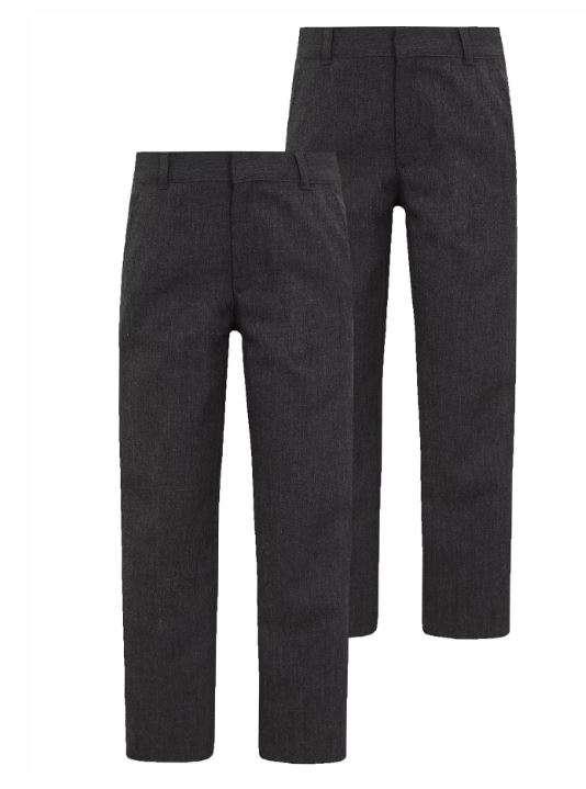 Ex-BHS Boys Black Charcoal Grey Regular Fit School Trousers Age 3-16 Adjustable