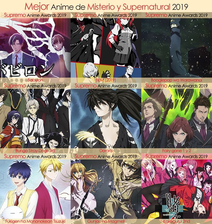 Eliminatorias Nominados a Mejor Anime de Misterio y Supernatural 2019