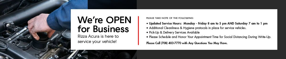 Rizza Acura Service is Open