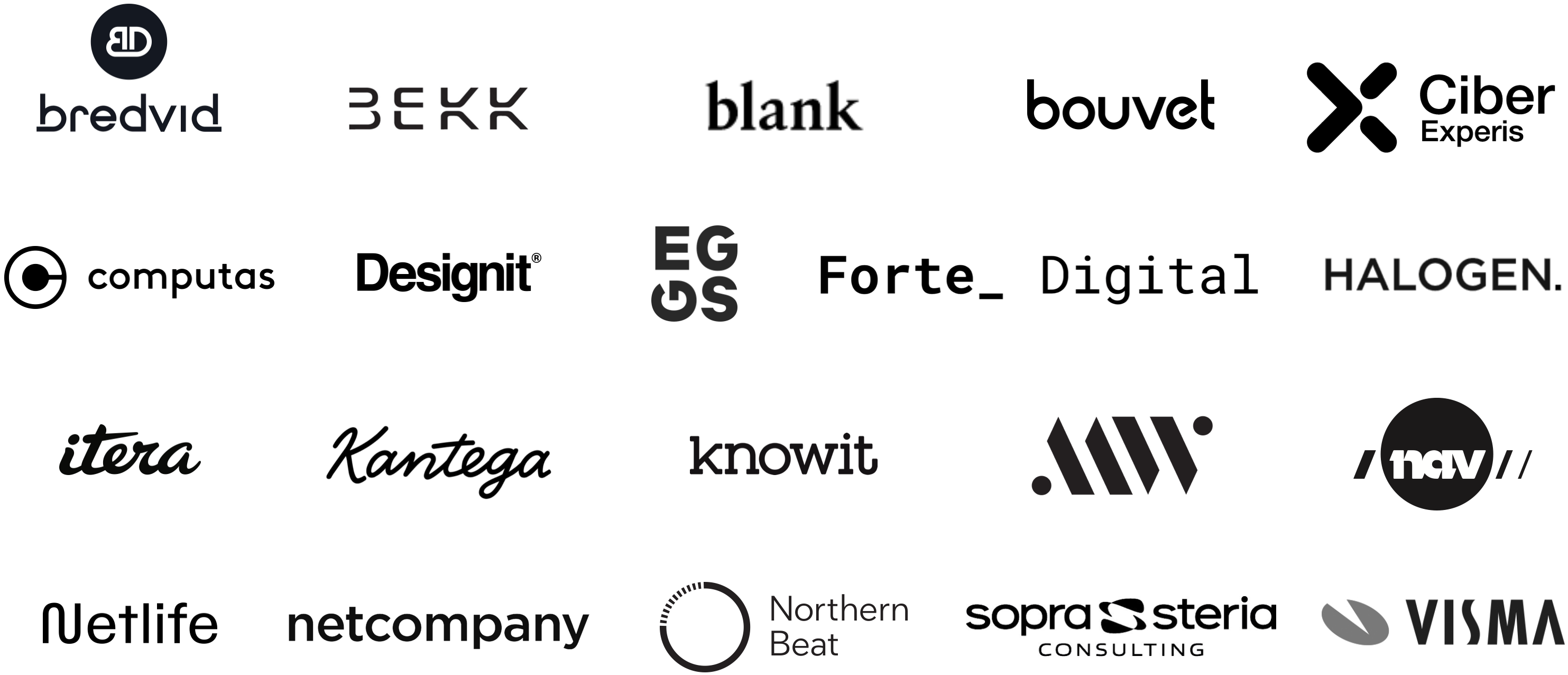 Image shows the logos of IxDA Oslo's 20 sponsors