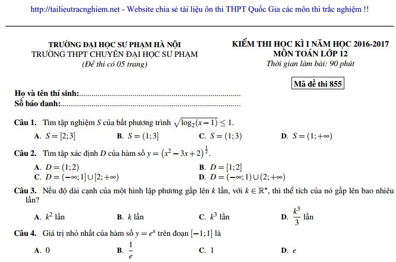Đề thi Toán HK1 lớp 12 năm 2016 - 2017 THPT chuyên ĐH Sư Phạm Hà Nội