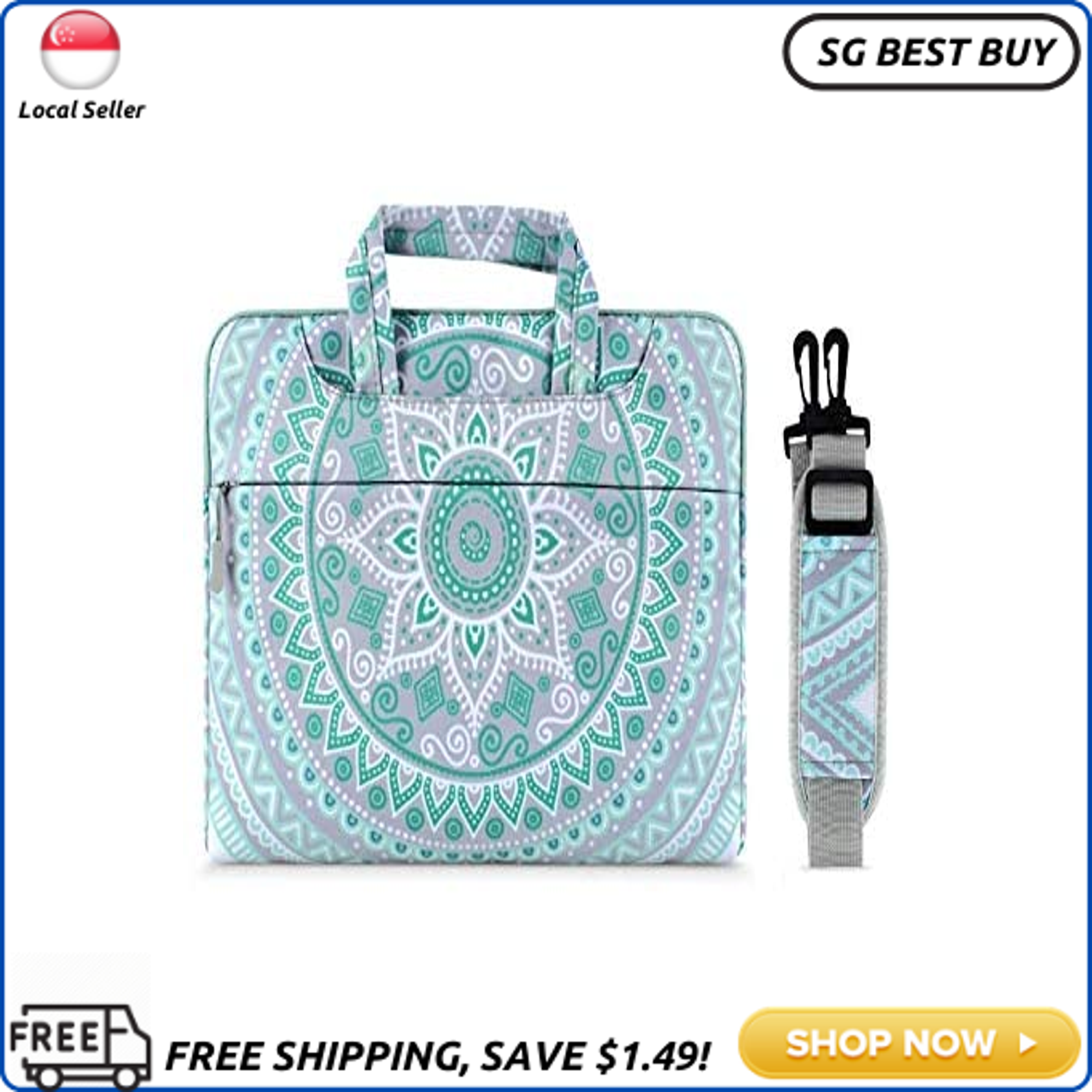 (SG SELLER) MOSISO Laptop Shoulder Bag Compatible with 13-13.3 inch MacBook Pro, MacBook Air, Notebook Computer, Canvas Mandala Pattern Protective Briefcase Carrying Handbag Sleeve Case Cover, Mint Green&Blue
