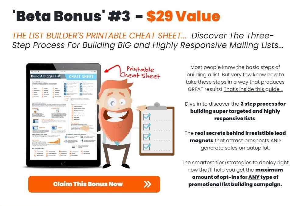 Page Dyno Review - Vendor Bonus 3 - Cheat Sheet