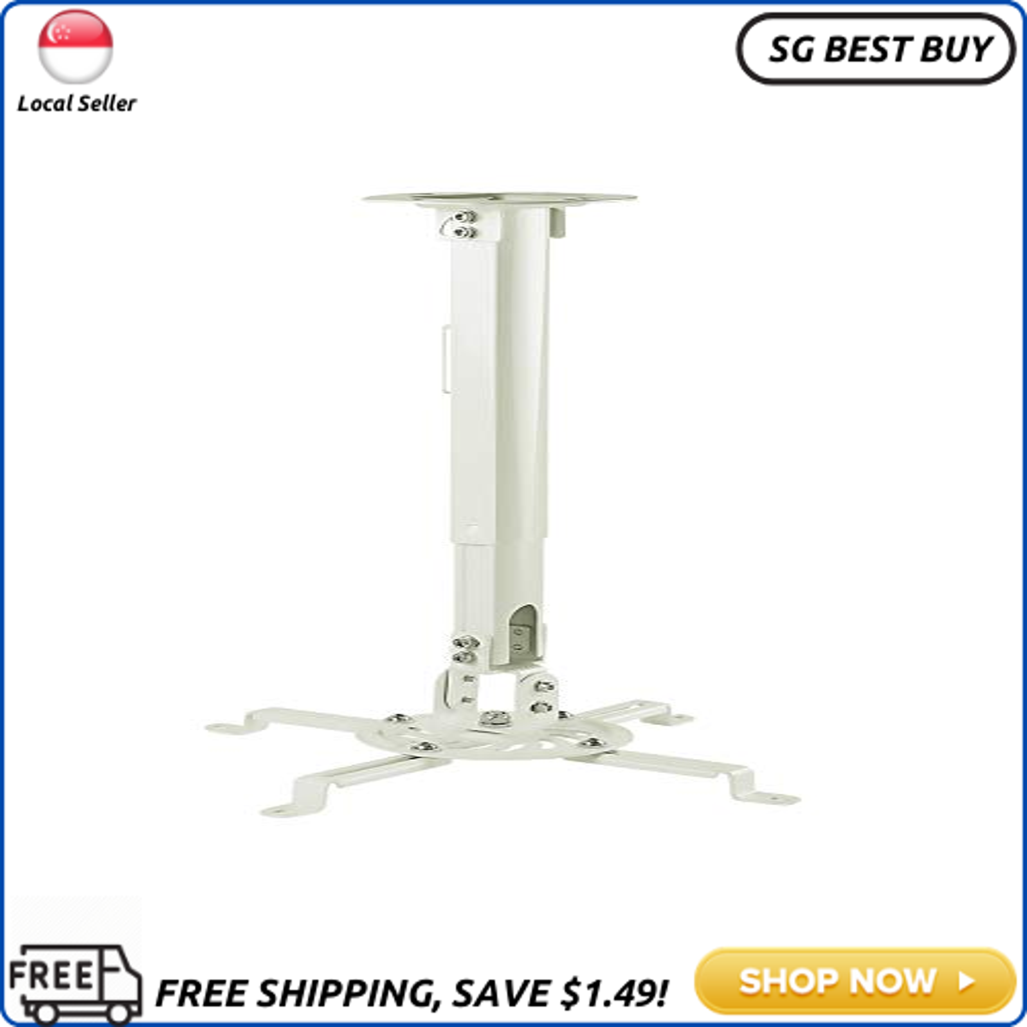 [SG SELLER]Mount-It! Ceiling Projector Mount Height Adjustable Universal Stand Fits Epson Optoma Benq Viewsonic Projectors, 30 Lbs Capacity (Medium)