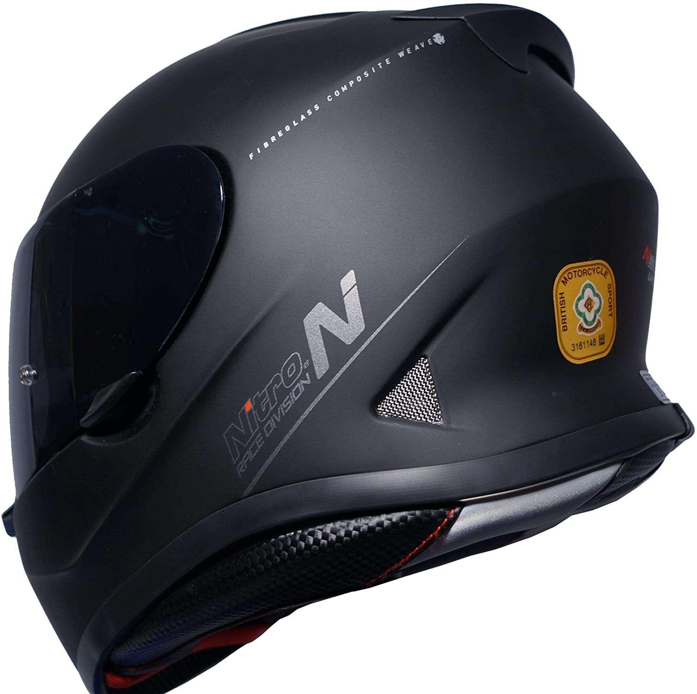 Nitro N3100 UNO Full Face Motorcycle Helmet Blackout Gloss BlackS