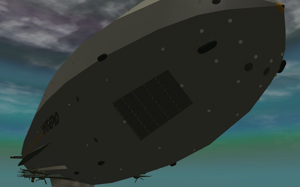 My Adventures In SketchUp - Intrepid: A Revolution In Design - An RCT3 Screenshot Almost Displaying Intrepid In Its Entirety, With One Of Intrepid's Vent Grilles Nearer The Viewer. The Viewer Is Slightly Below Fore Starboard Looking Aft.