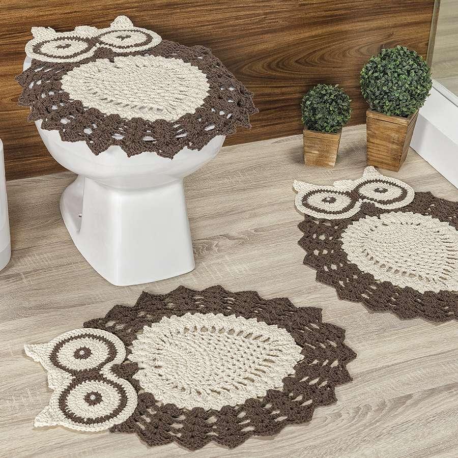 Jogo de Banheiro de Crochê Formato de Coruja 3 Peças Cru