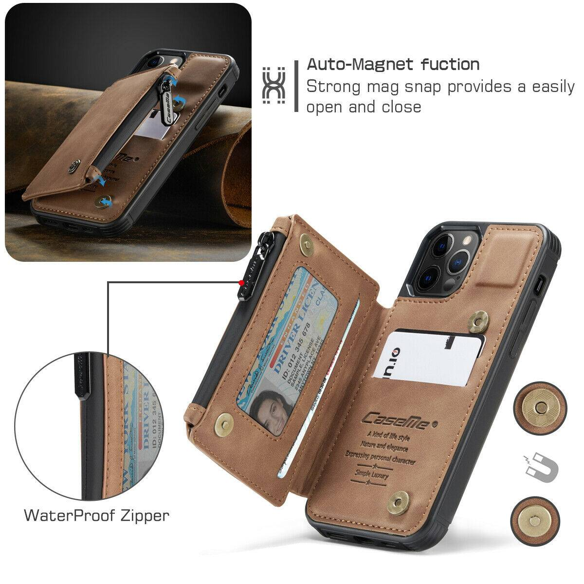 FOR iPhone 12/11 Pro Max Leather Wallet with Zipper Magnet ...