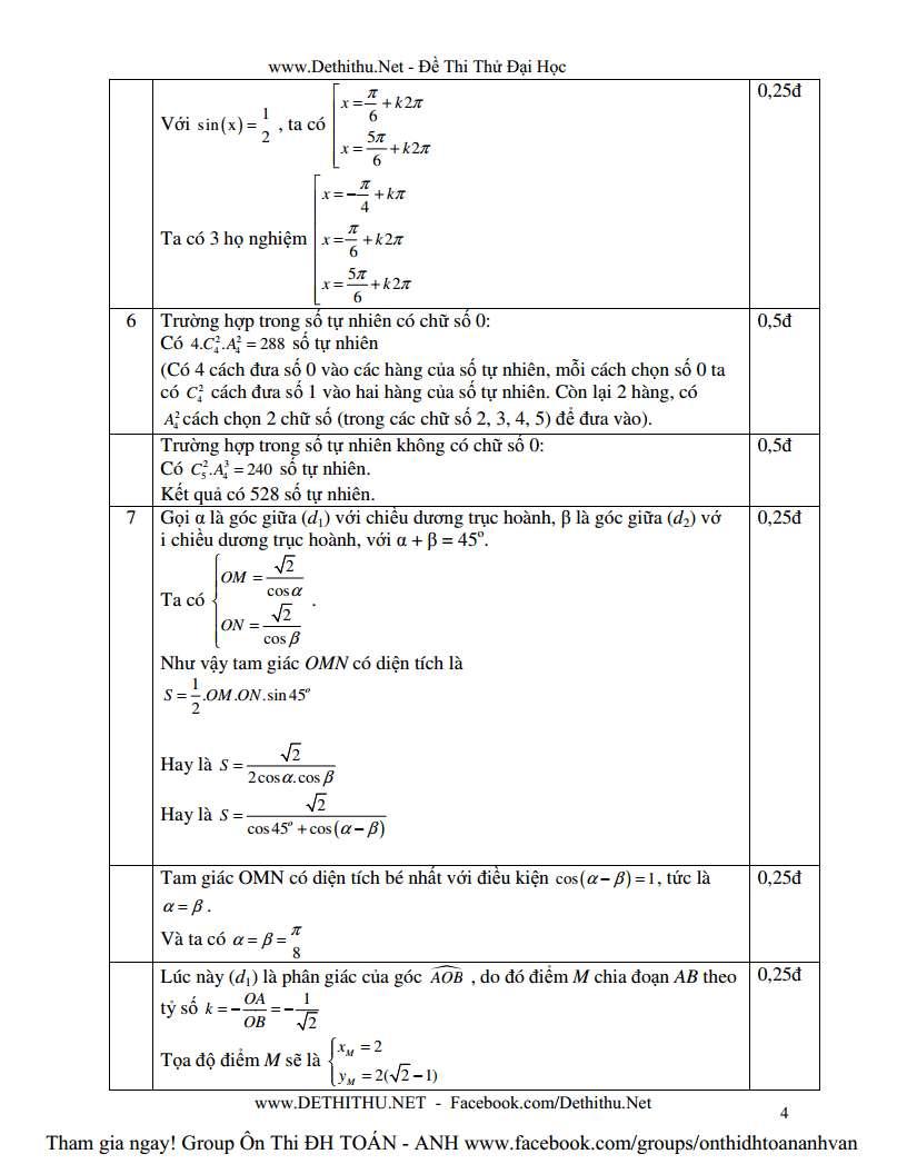Đáp án câu xác suất, oxy đề thi thử Toán Đăk Nông