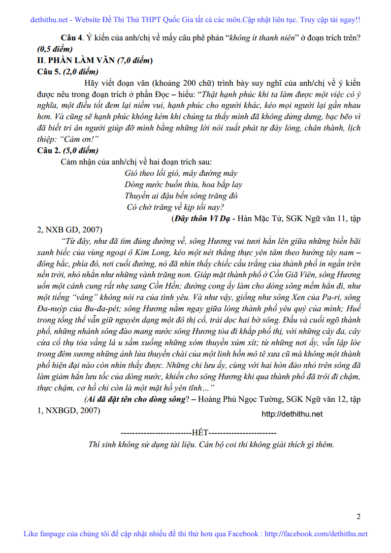 De thi thu Ngu Van nam 2018 THPT Yen Lac, Vinh Phuc lan 3 trang 2