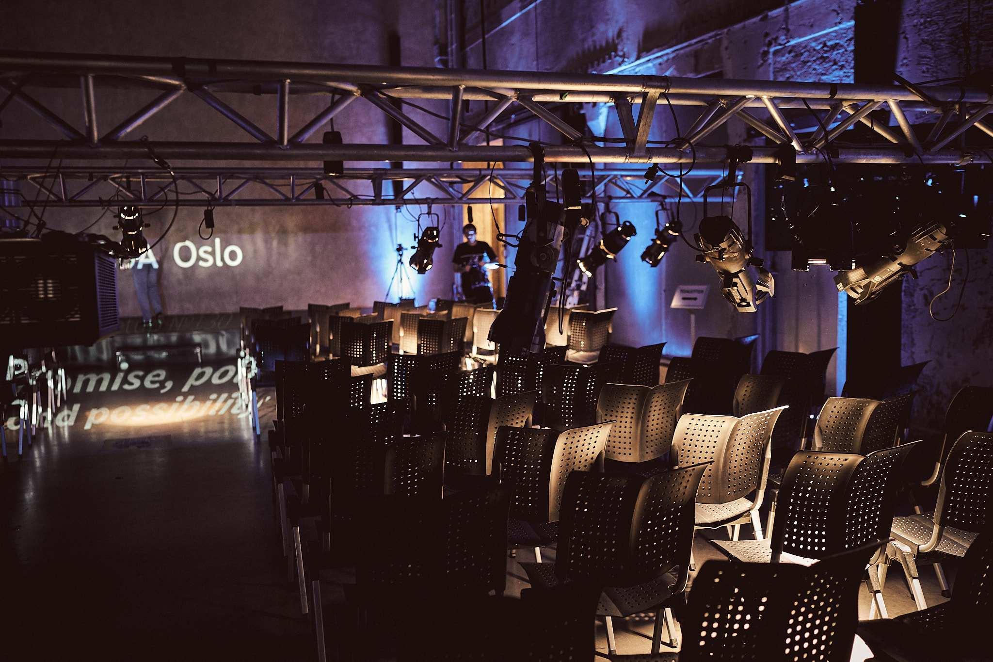 The Main Hall at DOGA during lighting setup