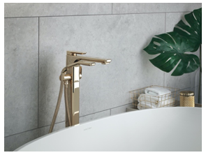 Perrin & Rowe® Hoxton 3440 Freestanding Bath-Shower Mixer in Polished Brass
