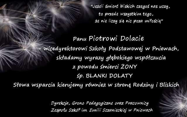 Kondolencje dla Piotra Dolaty