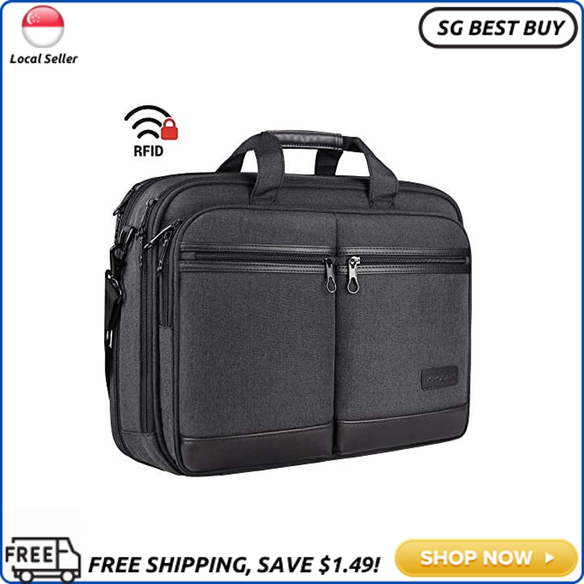 (SG SELLER) KROSER 18 Laptop Bag Stylish Laptop Briefcase Fits Up to 17.3 Inch Expandable Water-Repellent Shoulder Messenger Bag Computer Bag with RFID Pockets for Business/Travel/School/College/Men/Women-Black