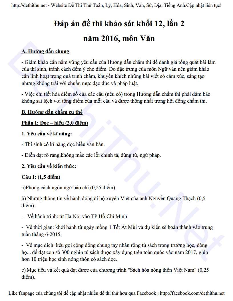 Đề thi thử môn Văn 2016 THPT Thuận Thành 1 lần 2