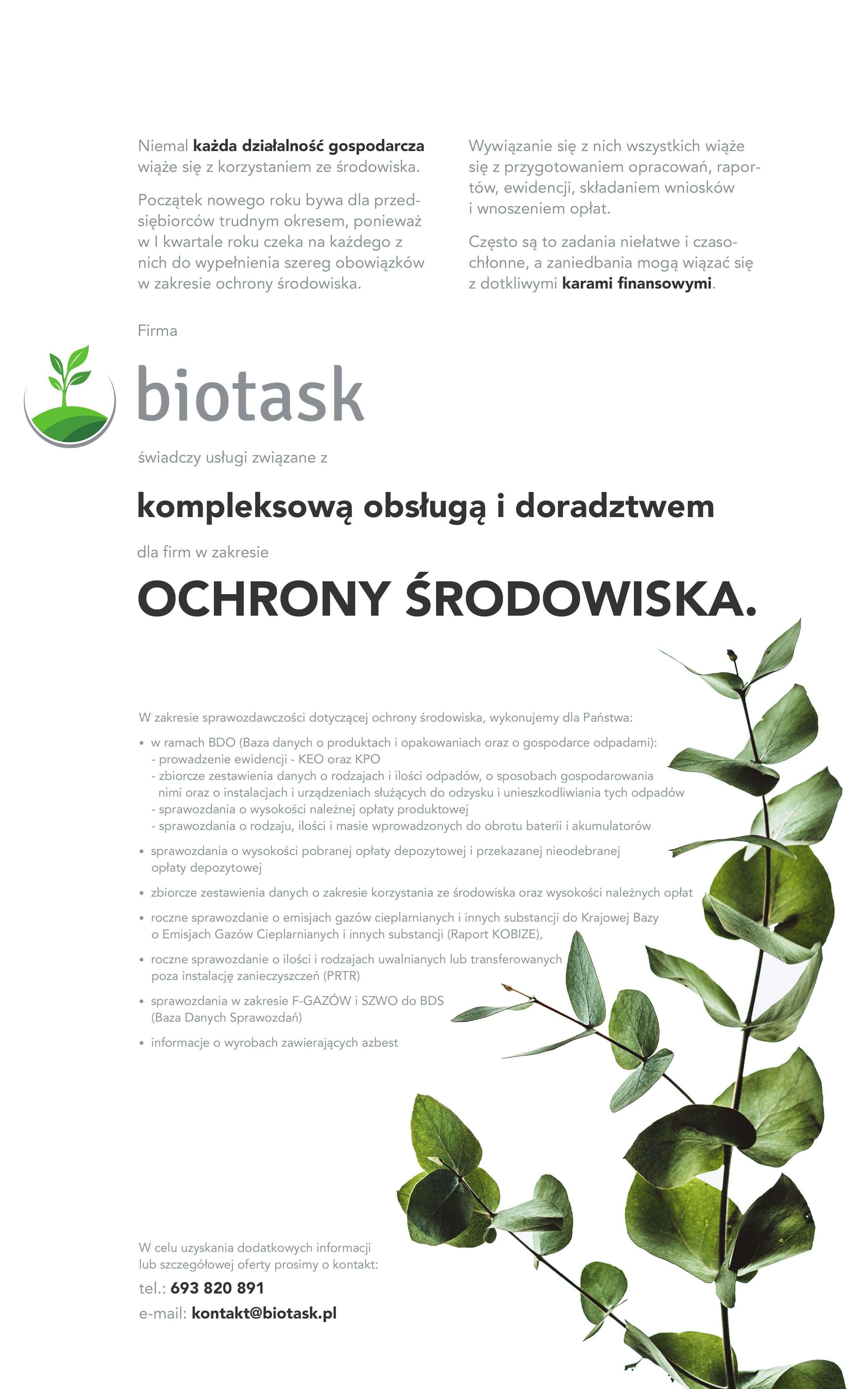BIOTASK – kompleksowa obsługa idoradztwo wzakresie ochrony środowiska