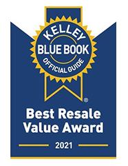 2021 Best resale Value Award - Kelley Blue Book