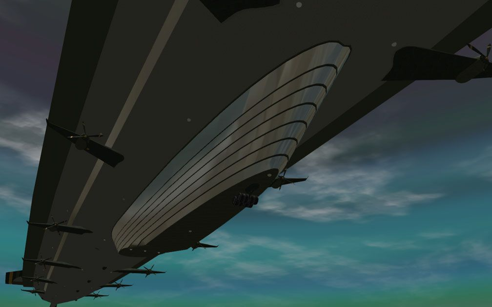 My Adventures In SketchUp - Intrepid: A Revolution In Design - A Distant RCT3 Screenshot Displaying Intrepid's Glass Walled Gondola. The Viewer Is Below And Slightly Starboard Looking Aft Along Intrepid's Bottom.