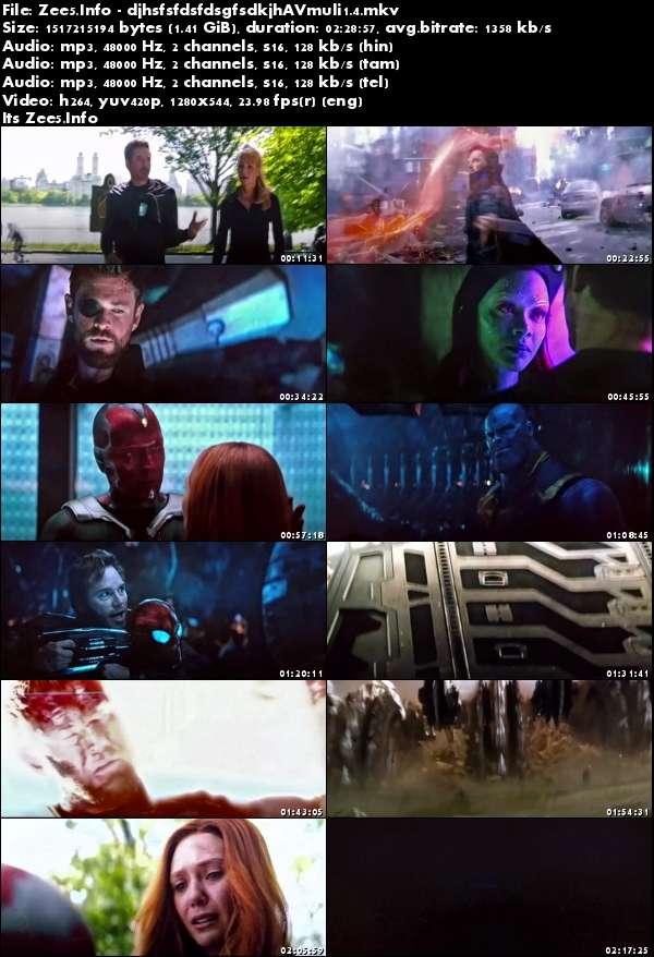 Avengers Infinity War (2018)[720p PreDVDRip - HQ Line Auds [Tamil + Telugu + Hindi + Eng] - x264 - 1.4GB]