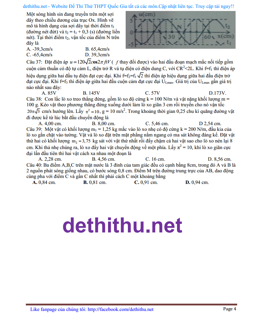 De thi thu mon Ly 2018 THPT Trieu Son 5, Thanh Hoa giai cac cau kho trang 4