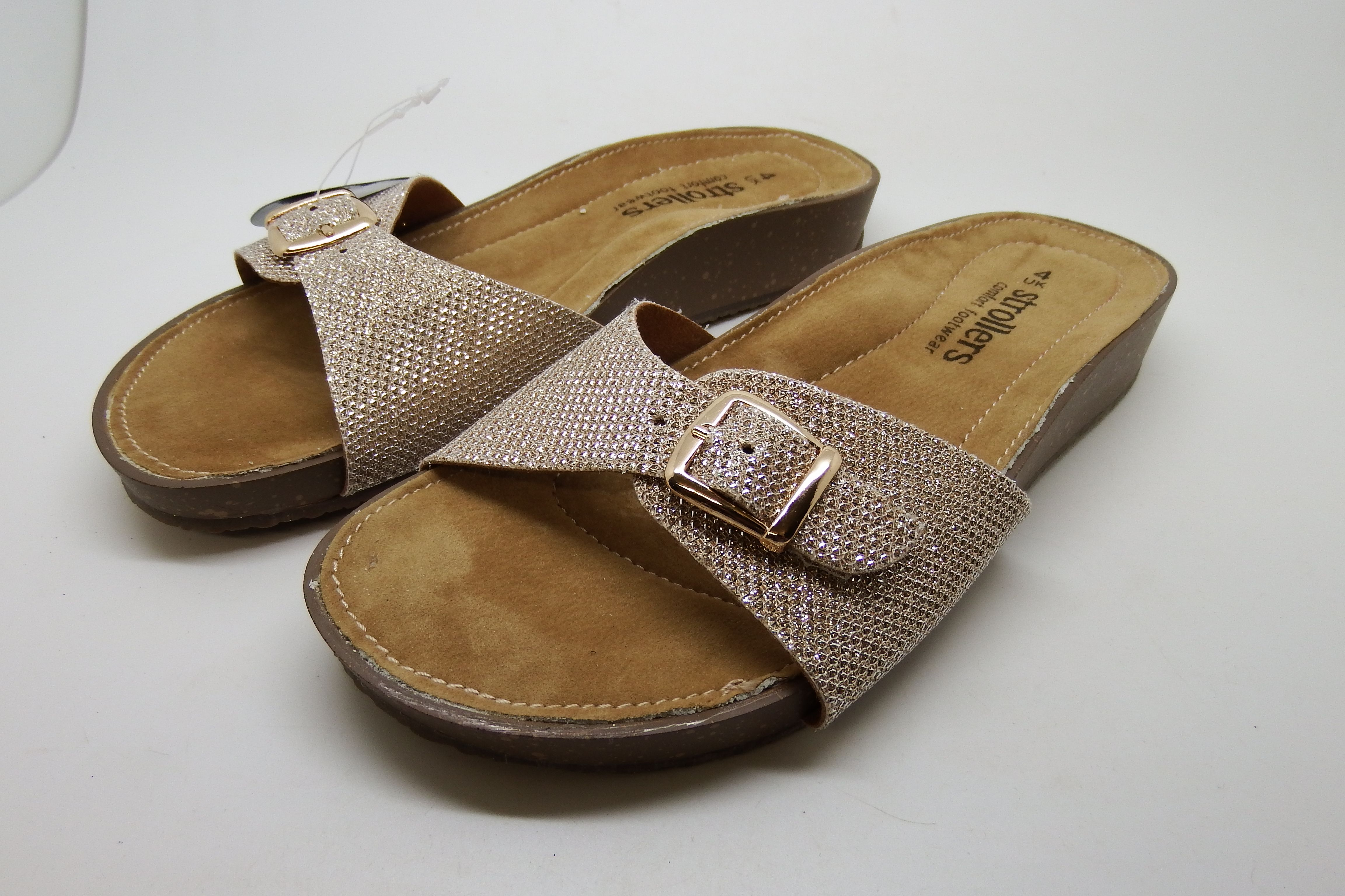 NEW LADIES STROLLERS COMFORT FOOTBED SLIDERS SANDALS SPARKLY GOLD SLIDES SZ 3 4