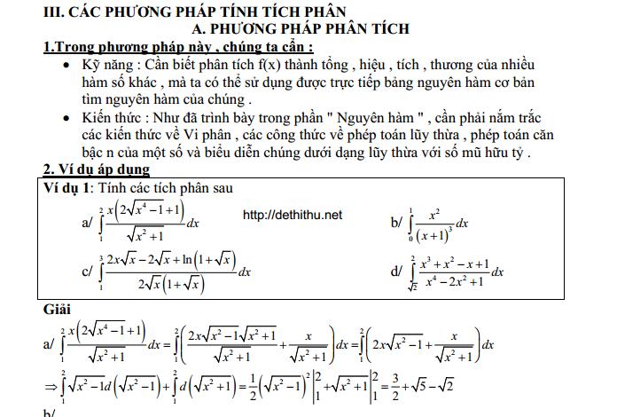Phân dạng các bài toán tích phân, phương pháp giải các dạng tích phân