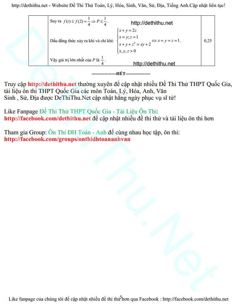 Đề thi thử THPT Quốc Gia môn Toán chuyên Hạ Long lần 3