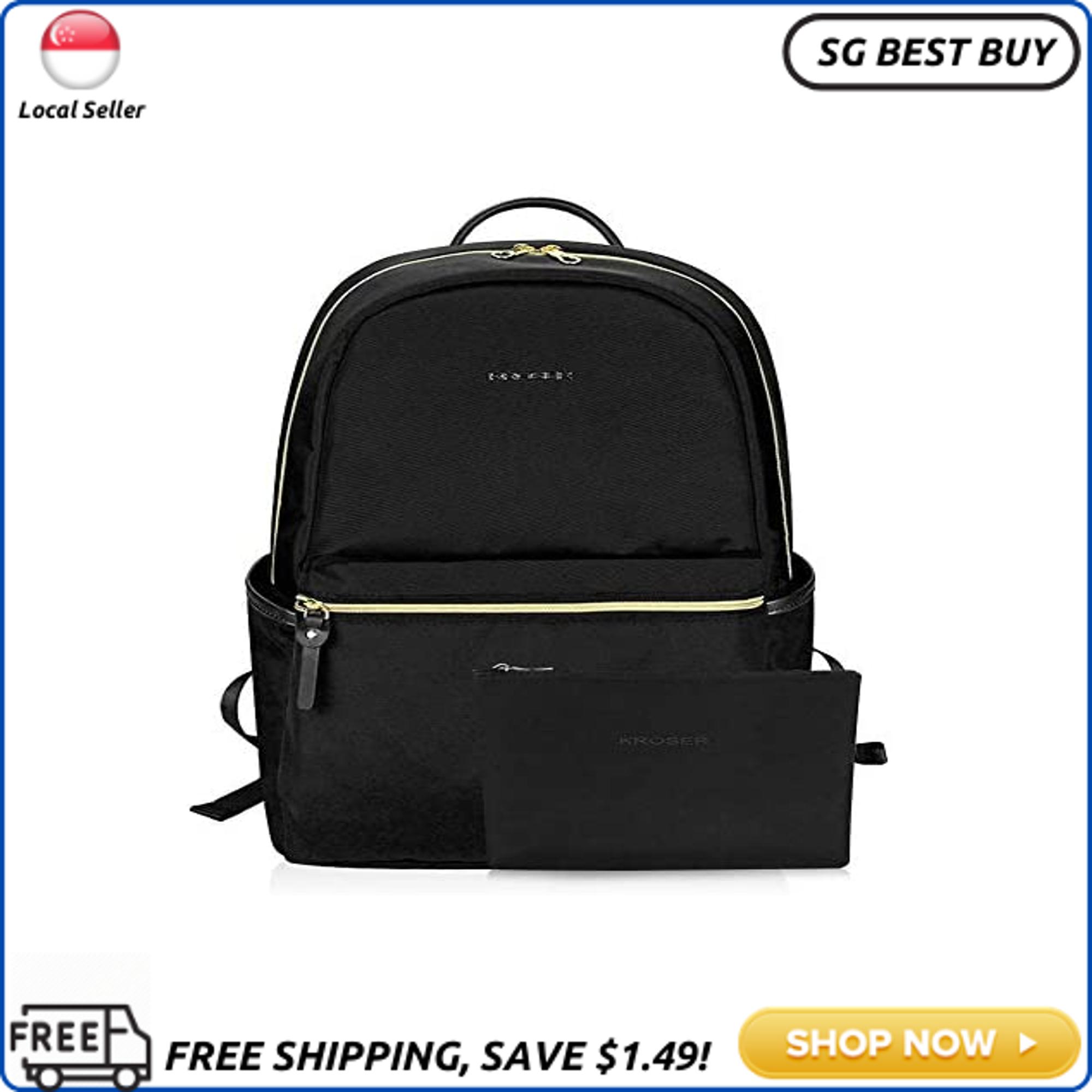 (SG SELLER) KROSER Laptop Backpack 15.6 Inch Upgraded Fashion School Backpack Water-Repellent Cumpter Backpack Laptop Bag Nylon Casual Daypack with USB Charging Port for Travel/Business/College/Women/Men-Black